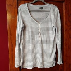 Saks fifth avenue striped linen long sleeved top